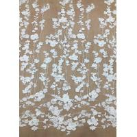 Cheap Ivroy Color French 3D Floral Lace Fabric , High End Wedding Lace Fabric By The Yard for sale