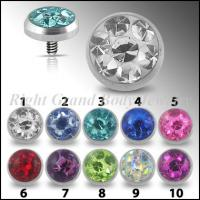 Cheap Multi Gems Dermal Anchor Jewelry With CZ Stones For Engagement for sale
