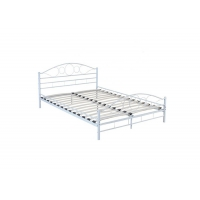 Cheap White / Black Wooden Slat 1.0mm Metal Double Bed for sale