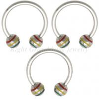 Cheap 316L Surgical Stainless Steel Non - Allergic Horseshoes Triple Barbell / Steel Circular Barbells With Striped Balls for sale