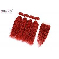 Buy cheap Red Burgundy Brazilian Water Wave Hair Extensions With Closure Curly Weaves No from wholesalers