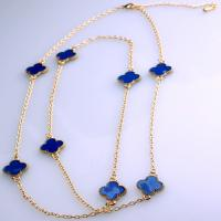 Cheap 2015 Hot Sale Women's Yellow Gold Plated Blue Clover Drip Glaze Long Sweater Chain Necklace,36'' with 3'' Extended for sale