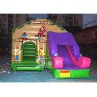 Cheap Commercial backyard jungle theme kids inflatable jumping castle with slide made of best pvc tarpaulin for sale