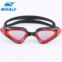 Cheap Flexible Anti Fog Swim Goggles With 180 Degree Visibility , Red And Silver Color for sale