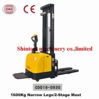 Buy cheap 1.6 Ton Electric Pallet Stacker With 3000mm Standard Lift Height And Narrow Legs from wholesalers