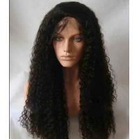 "Black Long Natural Wave 18"" remy human hair full lace wigs Tangle Free"