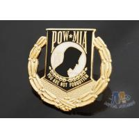 Cheap Custom Metal Hard Enamel Pow Mia Logo Lapel Pin Bages, Logo Effect Shiny Gold Silver Or Copper Plating for sale