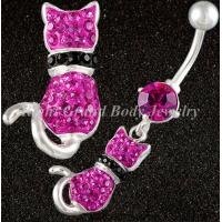 Cheap 14G Fuchsia Belly Button Rings Body Piercing Jewelry , Non-toxic for sale