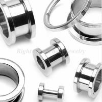 Cheap 316L Surgical Stainless Steel Hand-Polished Screw Plugs Ear Flesh Tunnels, 18mm, 20mm for sale