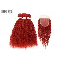 Buy cheap Bold Red Brazilian Kinky Curly Hair Weave Bundles With Closure No Tangle Soft from wholesalers