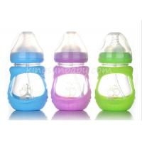 Anti-broken Wide Neck Glass Baby Feeding Bottle With Silicone Sleeve 210ML