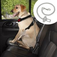 """Cheap Dog Car Seat Belt Clip Leash Quick Fit Stainless Steel Chain Dog Leash 21"""" Long for sale"""