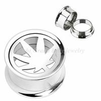 Cheap Leaf Surgical Stainless Steel 20mm, 22mm Piercing Screw Ear Flesh Tunnels / Plugs Jewelry for sale