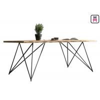 Cheap Base Solid Wood Restaurant Dining Table With Geometric Rose Gold Metal Frame for sale