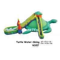 China Rental Sea Turtle Themed Inflatable Dry Slide With Long Stair / Double Slides on sale