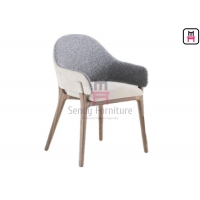 Cheap PU Leather Cashmere Upholstered Armrest Dining Chair For Restaurant for sale