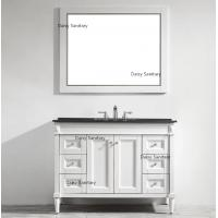 Cheap Coated Wood Painting White Wood Bathroom Vanity With 4 White Painted Legs for sale