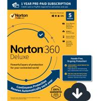 Cheap 5 Device Virus Protection Software PC MAC Digital Download Norton 360 Deluxe for sale
