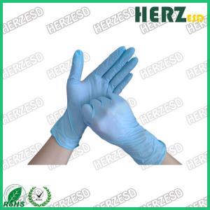 China Powder Free Blue Nitrile Disposable Gloves , Finger Dotted ESD Safe Nitrile Gloves on sale