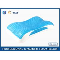 Cheap Wave Contour Memory Foam Cooling Gel Pillow with Luxury Tencel Pillow Cover for sale