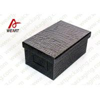 Cheap Black Leather Coated  Branded Products Cardboard Gift Boxes With Lids OEM for sale