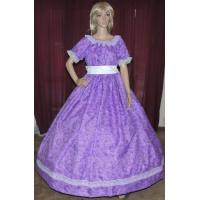 Victorian dickens southerb belle sass purple print costume dress gown