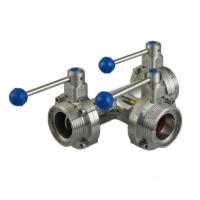 Cheap Sanitary Hygienic Butterfly Valve Stainless Steel Food Grade Male Thread 3 Way for sale