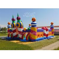 Cheap Rainbow Color Inflatable Bouncy Castle Candy World Giant With CE Blower for sale
