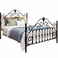 Cheap Black Queen Size Metal Bed Easy Assembly Electrostatic Powder Coating for sale