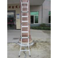 Cheap 1.2*1.5mm Foldable Aluminium Ladder , Aluminium Telescopic Ladder With Wheel for sale