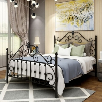Cheap ISO14001 Adjustable Iron Pipe 0.6mm Thick Modern Metal Bed Steel Frame Bedroom Furniture for sale