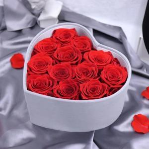 Cheap Wholesale Price Velvet Flower Boxes Preserved Roses Heartshape Box Flower for sale