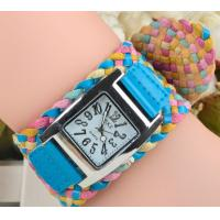 China 2015 korea rope watch woven cracked leather band wide belt watch rainbow watch 5 colors ladies knit bracelet watch on sale