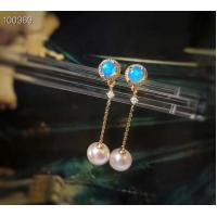 Cheap Women Real Gold Earrings With White Seawater Pearls , Yellow Gold Jewelry for sale