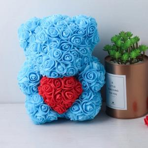 Cheap Wholesale Preserved rose bear with heart popular size 25cm teddy bear of roses for sale