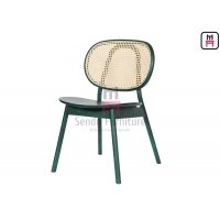 Cheap Ash Wood Round Cane Back Armless Dining Chair 0.36cbm for sale