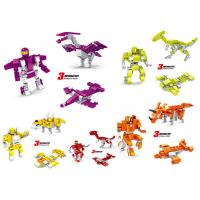 Cheap Transformer Dinosaur Robot Plastic Interlocking Building Blocks 6 Styles Convertable for sale