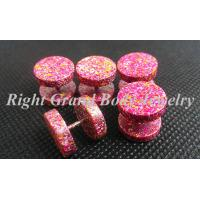 Cheap 12MM Fake Plug Earrings With 316L Surgical Steel Pink Paint for sale