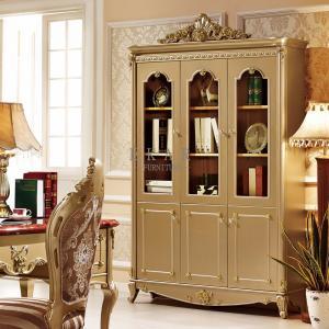 Cheap Golden Shelf Storage Luxury Wooden Bookcase for sale