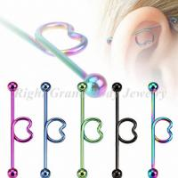 Cheap Heart Shaped Screw Industrial Barbells Jewelry , Steel Tongue Ring Piercing for sale