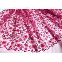 Cheap Colored Handmade 3D Flower Lace Fabric , Scalloped Embroidered Mesh Lace Fabric for sale