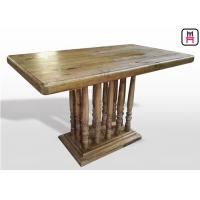 Cheap Vintage Rectangle Restaurant Dining Table With Rustic Solid Wood Roman Column for sale