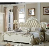 Cheap 2017 newest Classic French style wooden soft leather bed for sale
