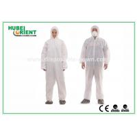 Cheap Type 5 / 6 Disposable Coveralls with Hood Splash Proof SMS Chemical Coveralls for sale