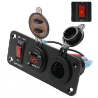 Cheap 12V Car yacht three-in-one power failure protection reset switch panel mount usb charger digital display voltage for sale