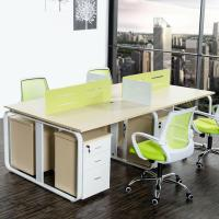 Buy cheap Wood Grain Melamine Particle Board Office Furniture For Four Person Working from wholesalers