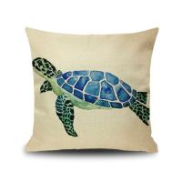 China Sea Life Decorative Throw Pillow Covers 18x 18 , Faux Linen Coastal Turtle Cushion Cases for Bed and Couch on sale