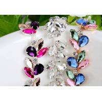 Cheap glass rhinestone crystal cup chain flower rhinestone trimming cup chain for sale