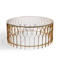 Buy cheap Big Round Marble Top Coffee Table with Hollow-carved Table Leg from wholesalers