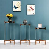 Cheap European Modern Style Tempered Glass Stainless Steel Side Table for sale